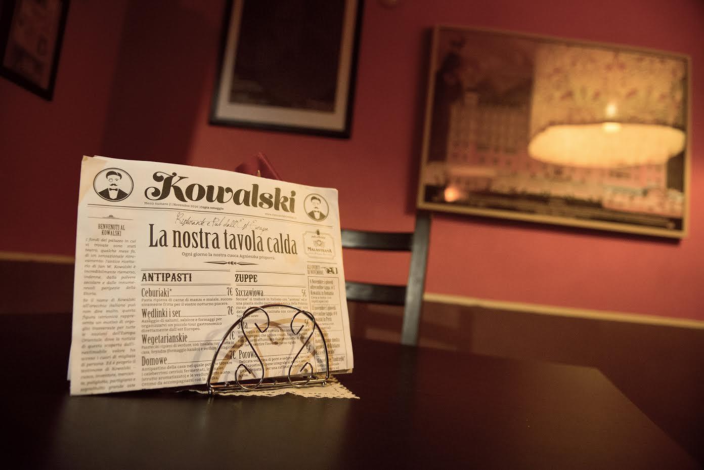Il menu del Kowalski stampato